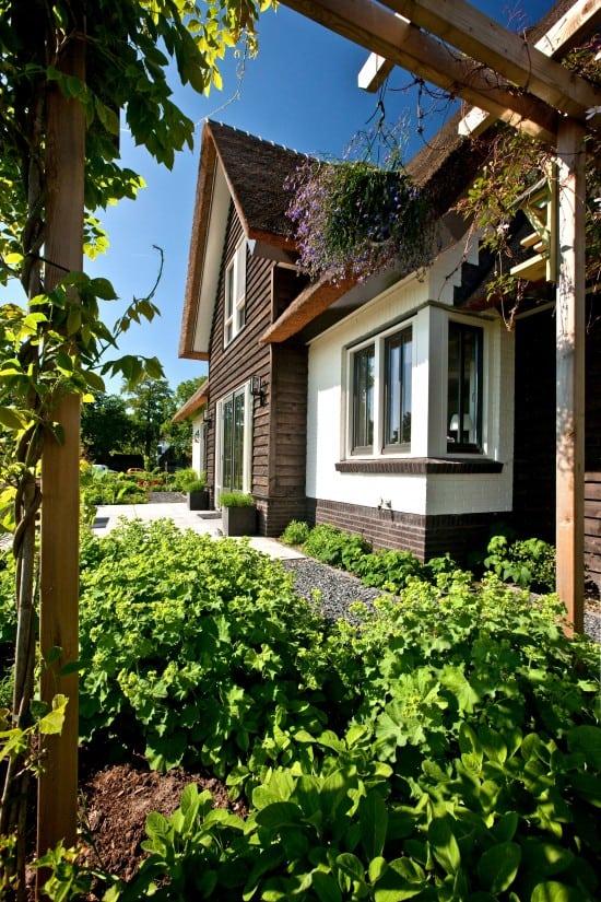 2. Rietgedekt huis bouwen, villabouw, wit gekeimd, douglas delen