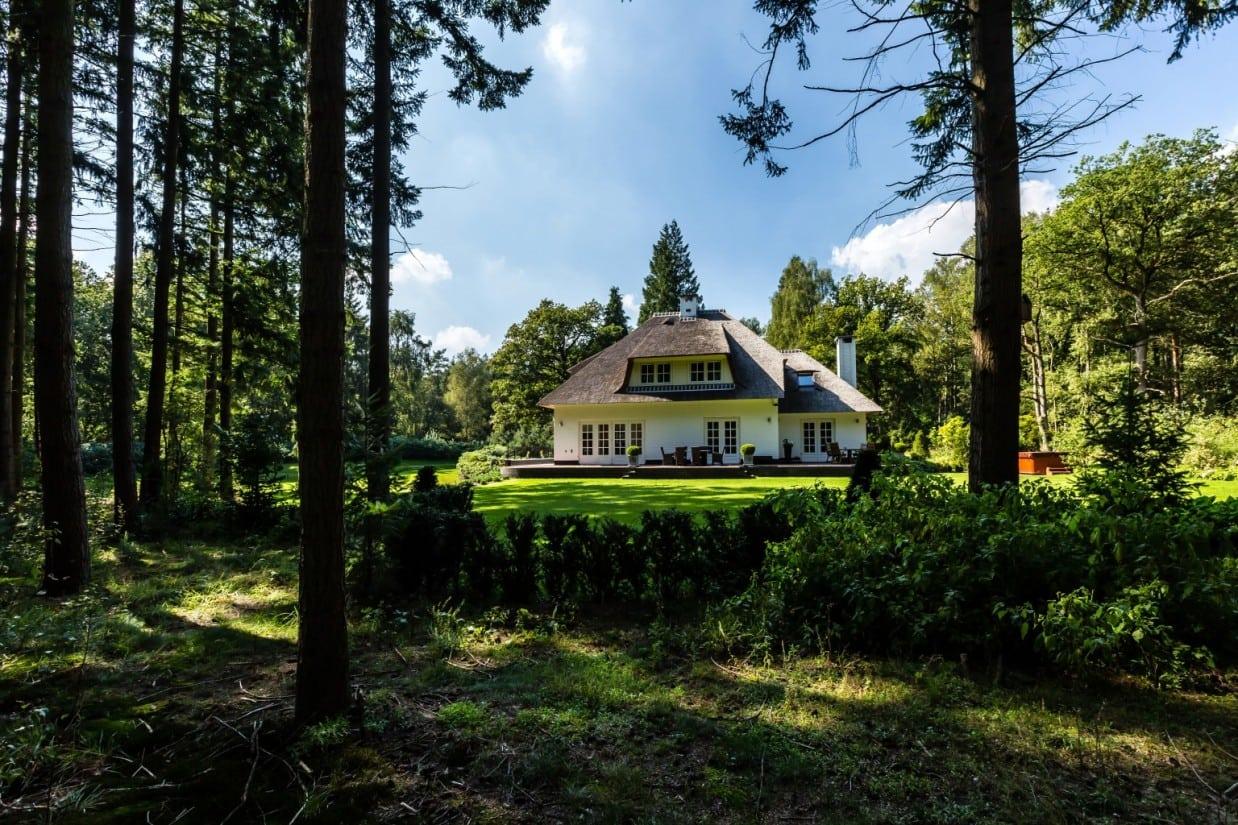 6. Rietgedekt huis bouwen, landhuis gelegen in bosgebied